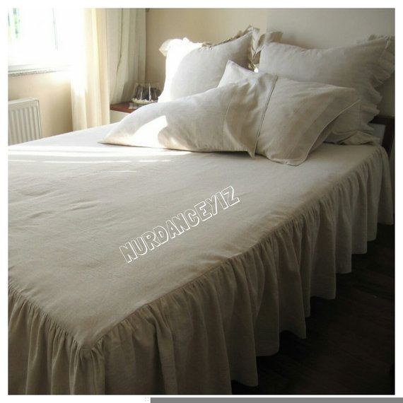 Oatmeal Linen Drop Ruffle Skirted BedspreadBed Skirtbed