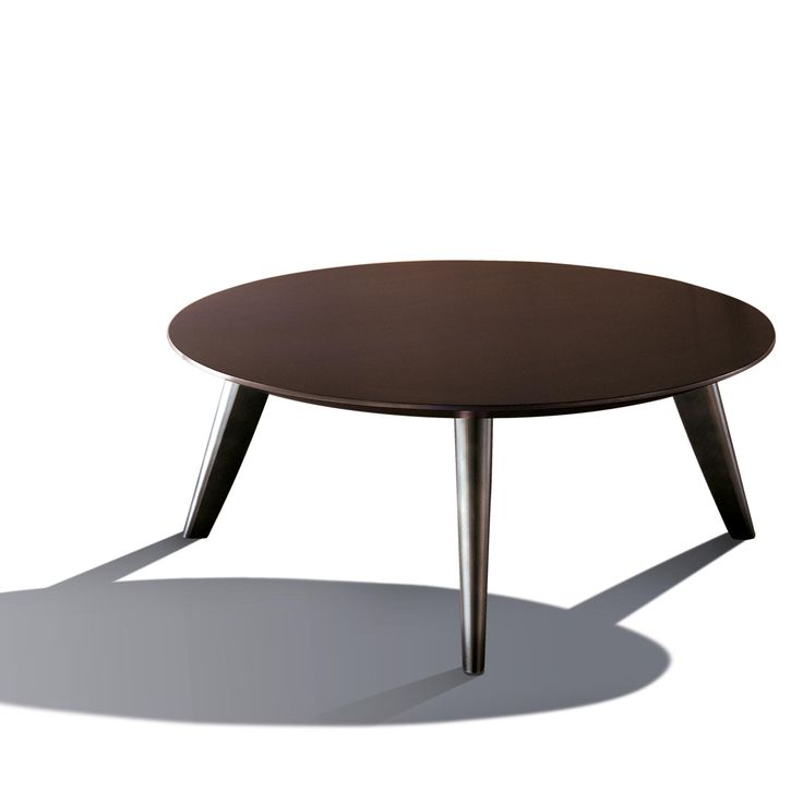 BD 12 T - Round table with top produced in all sample woods or matt brushed lacquering, brass legs, bronze finish, made to measure production.By Bartoli Design | Laurameroni