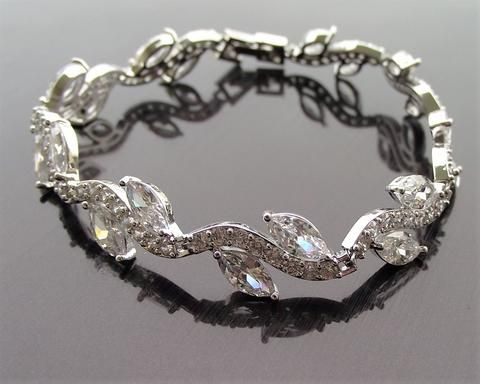 Crystal, Silver Wedding Bracelet, Davina