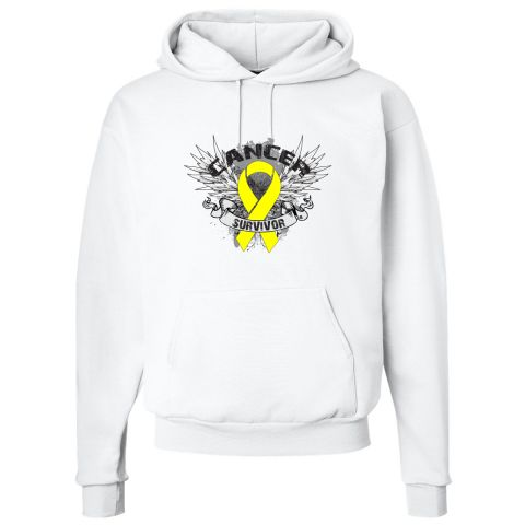 Ewings Sarcoma Survivor Pullover Hoodie  spotlights a tattoo inspired design with fighter wings, grunge elements and an awareness ribbon to  advocate and support your cause #EwingsSarcomaAwareness