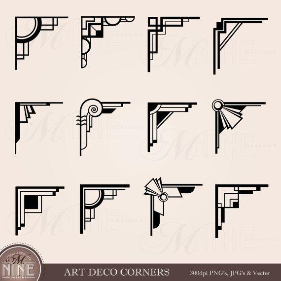 cool ART DECO CORNERS Clipart Digital Clip Art, Instant Download, Vintage Design Elements Antique Borders Clip Art Black Silhouette