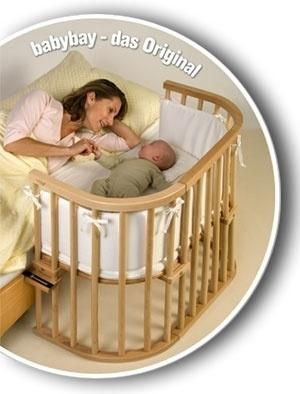 Baby bed BabyBay (co-sleeper and other!)  Can be used as   • babybed from birth to 9-12 months   • travelling bed from birth to 9-12 months   • high chair from six months to three years / or   • playpen from about 6 months ( 2x babybay)   • playtable from about one year   • children bank from about 1,5 years   • desktop from about two years by TamidP