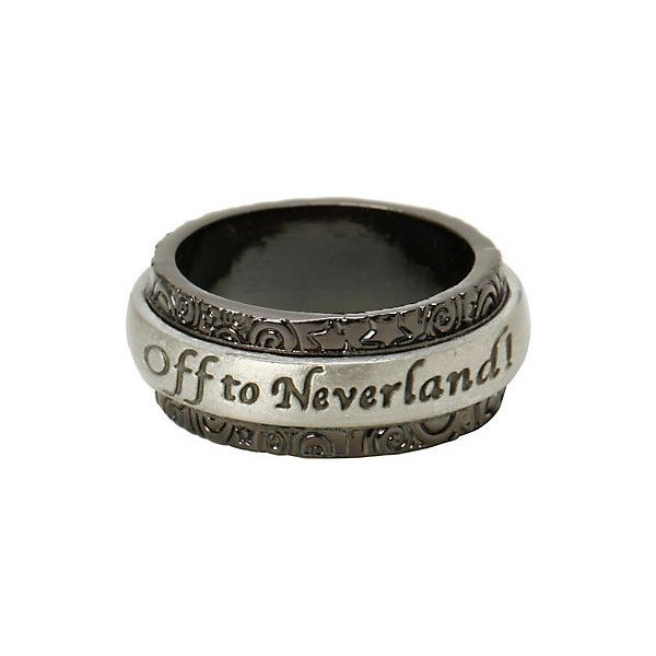 Disney Peter Pan Off To Neverland Spinner Ring | Hot Topic ($11) ❤ liked on Polyvore featuring jewelry, rings, hot topic, peter pan, disney, swivel ring, metal rings, disney rings, engraved jewelry and peter pan jewelry