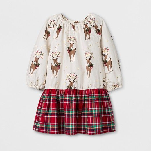 Get your little one ready for the holidays in sweet and festive fashion with the Reindeer Woven A-Line Dress from Happy by Pink Chicken®. A plaid skirt is classic for the holiday season, and the reindeer pattern adds fun, youthful cheer to her look. Pair with black tights and Mary Jane shoes for a darling holiday dress she can sport at your next family gathering or holiday party.