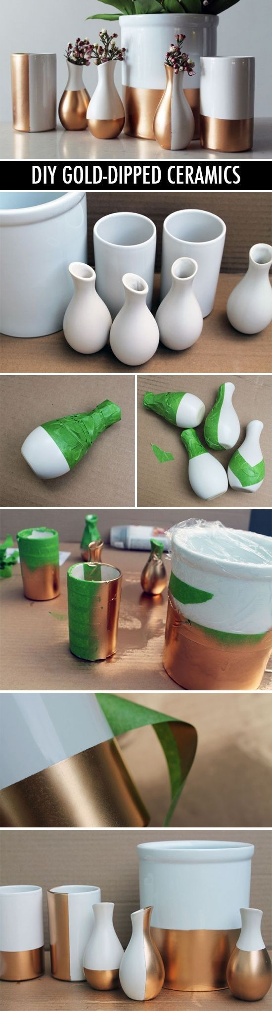 DIY Weekend Project: Gold-dipped ceramic vases ..........レ O √ 乇 ❤