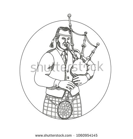 Doodle art illustration of a Scottish bagpiper playing bagpipes viewed from front set inside oval shape done in mandala style.  #bagpiper #doodleart #illustration
