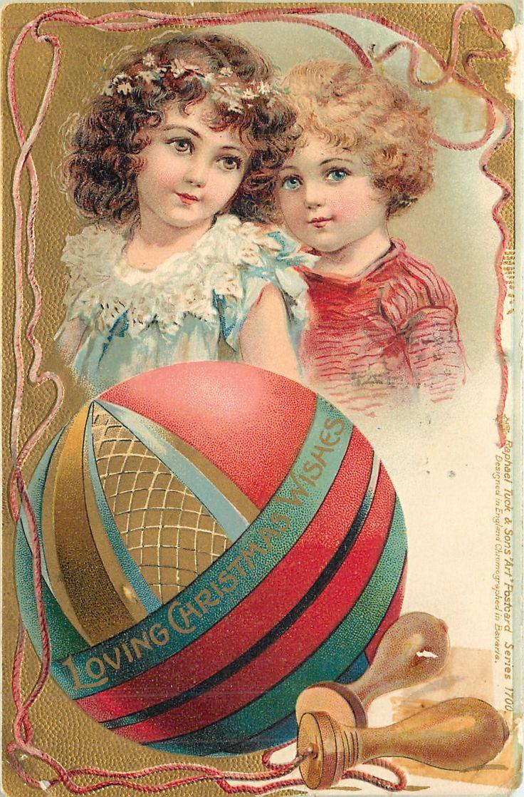 LOVING CHRISTMAS WISHES  boy & girl above large ball, skipping rope surrounds - Art by FRANCES BRUNDAGE