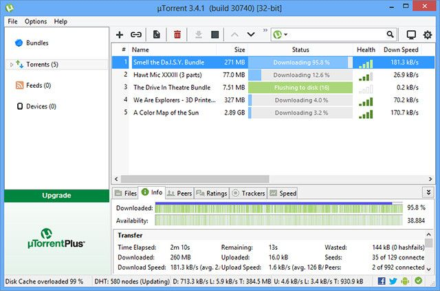 uTorrent (also known as µTorrent) is a lightweight, powerful and very tiny BitTorent file transfer protocol client that is today used by over 132 million of users, making it without any doubt the most BitTorrent popular client that is by some measurements responsible for large percentage of total internet bandwidth each day.