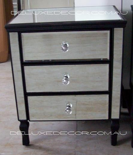 Clair Black Edge Silver Mirror 3 Drawer Mirrored Bedside Side Table 2620B http://deluxedecor.com.au/products-page/clair-collection/clair-black-mirrored-mirror-3-drawer-bedside-side-table-2620b/