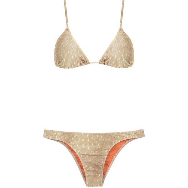 Adriana Degreas velvet bikini set (€250) ❤ liked on Polyvore featuring swimwear, bikinis, beige bikini, bikini swimwear, triangle bikinis, bikini two piece and adriana degreas swimwear