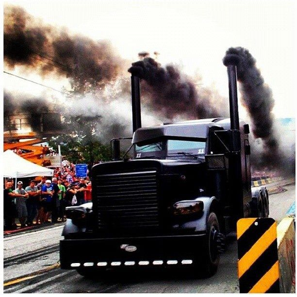 Blacked out rollin' coal