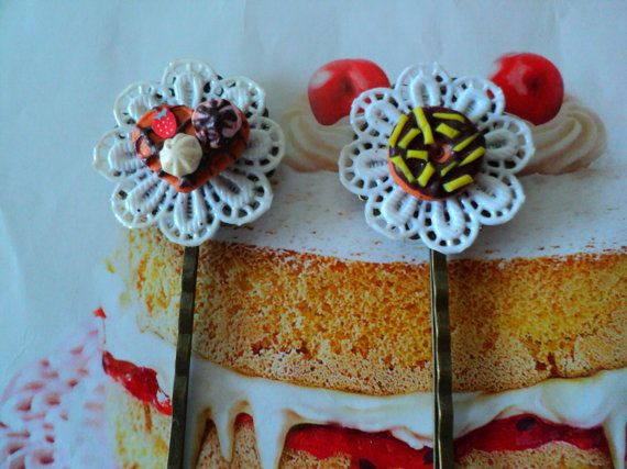 hair clips 2 pcs donuts waffle miniature food by EVELjewlery