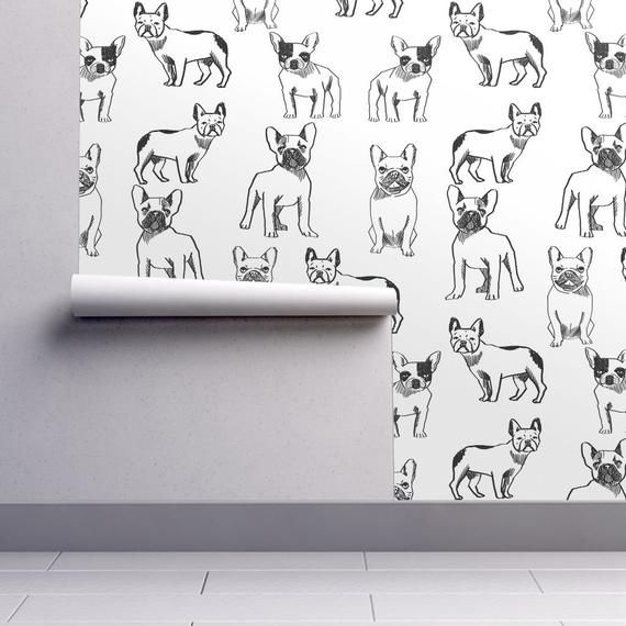 Frenchie Wallpaper French Bulldog Black White Dog By Andrea Lauren Custom Printed Removable Self Adhesive Wallpaper Roll By Spoonflower Black And White Wallpaper Self Adhesive Wallpaper Black And White Dog