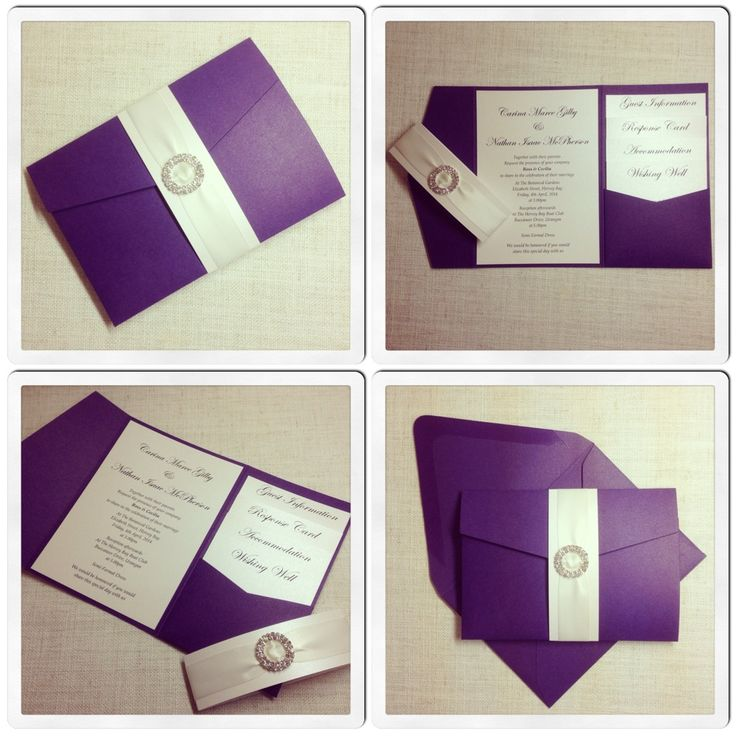Purple Elegant Pocketfold Wedding Invitation
