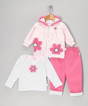 $11.99 Full of flower appliqués and a classic print, this set is accented with petal-precious charm. A comfy lap neck on the tee, zippered hoodie and elastic waistband on the pants make this terrific trio full of cozy convenience.