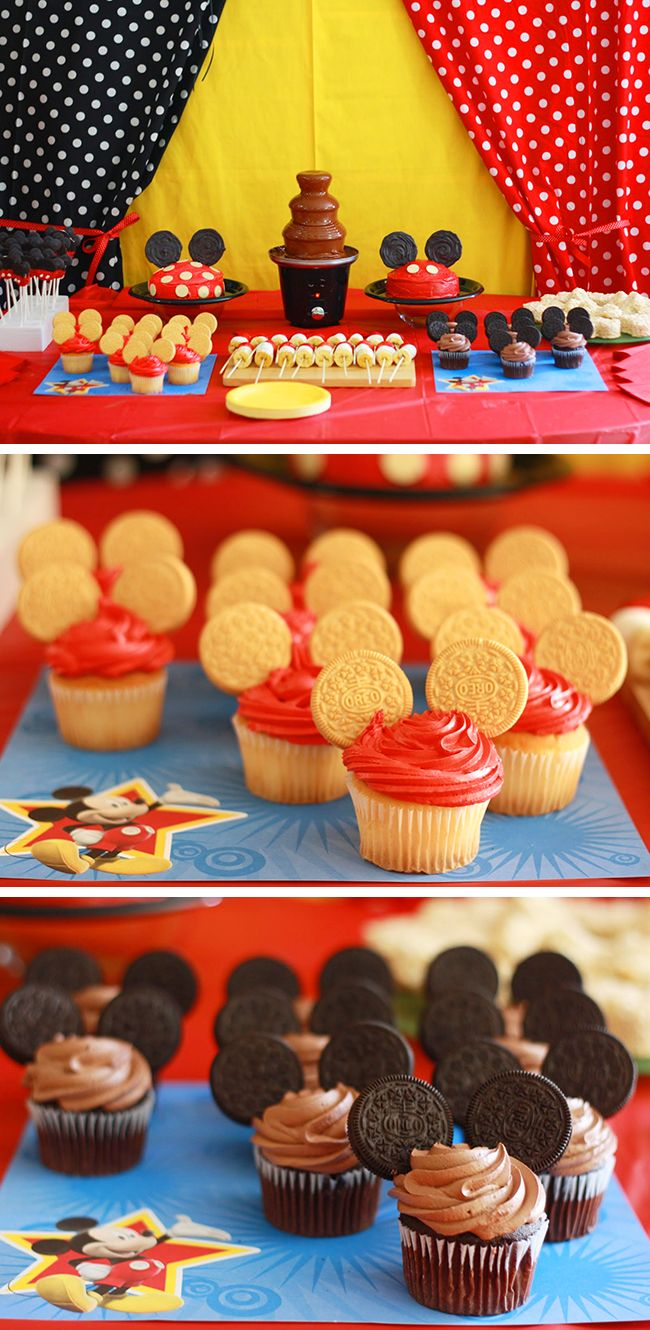 The cupcakes are adorable and so easy to do! Mickey Mouse Clubhouse party - adorable and totally doable ideas for a Mickey Mouse birthday party!
