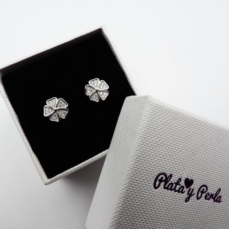 Pendientes de plata sencillo en forma de flor