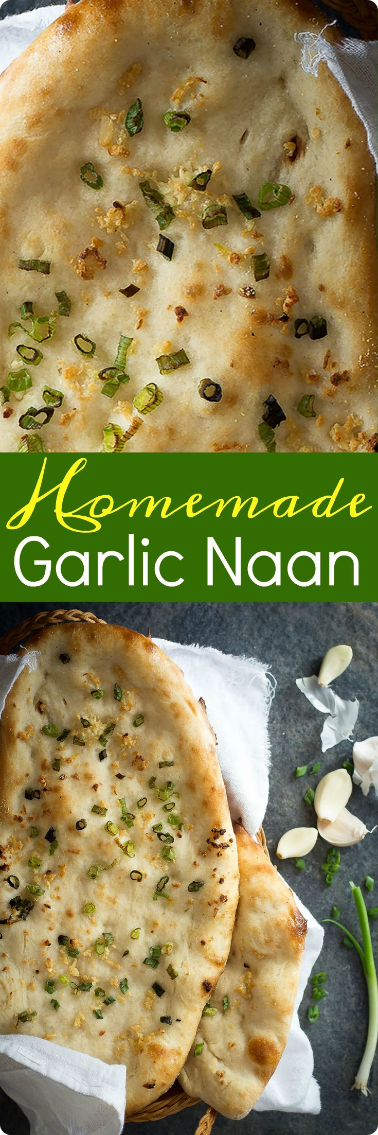 A chewy homemade naan bread covered in fresh minced garlic and green onions. This is the perfect accompaniment to any spicy meal. Find recipe at redstaryeast.com.