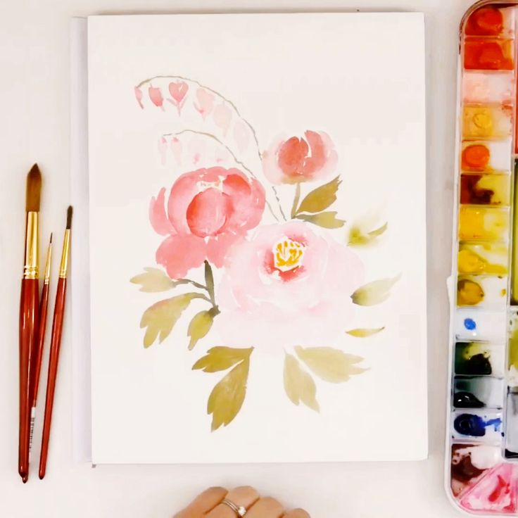 LIVE Loose Watercolor Peonies + Bleeding Hearts – YouTube
