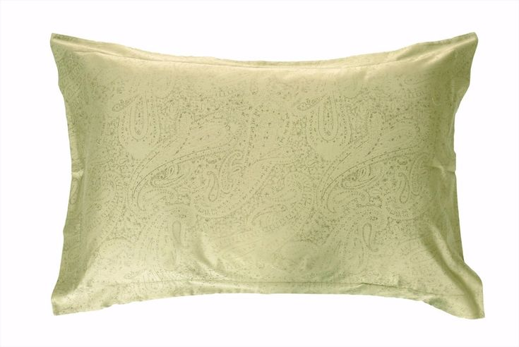 """Jacquard Duvet Setsinclude 2 Pillow Shams and 1 Duvet Cover About our Abriana Duvet Cover Jacquard Set The Abrianajacquard set was designed using the classic paisleydesign in a light shade of green. The set is designed and woven in Italy using 100% Egyptian Cotton -340 Thread Count giving it a smooth, soft and a subtle shin   ×     Type 2 Pillow Shams (W x L) Duvet Cover (W x L)     Standard King 21"""" x 32"""" + 2"""" Flap51 x 81 + 5 cm  106"""" x 94""""270 x 240 cm    Queen&#..."""