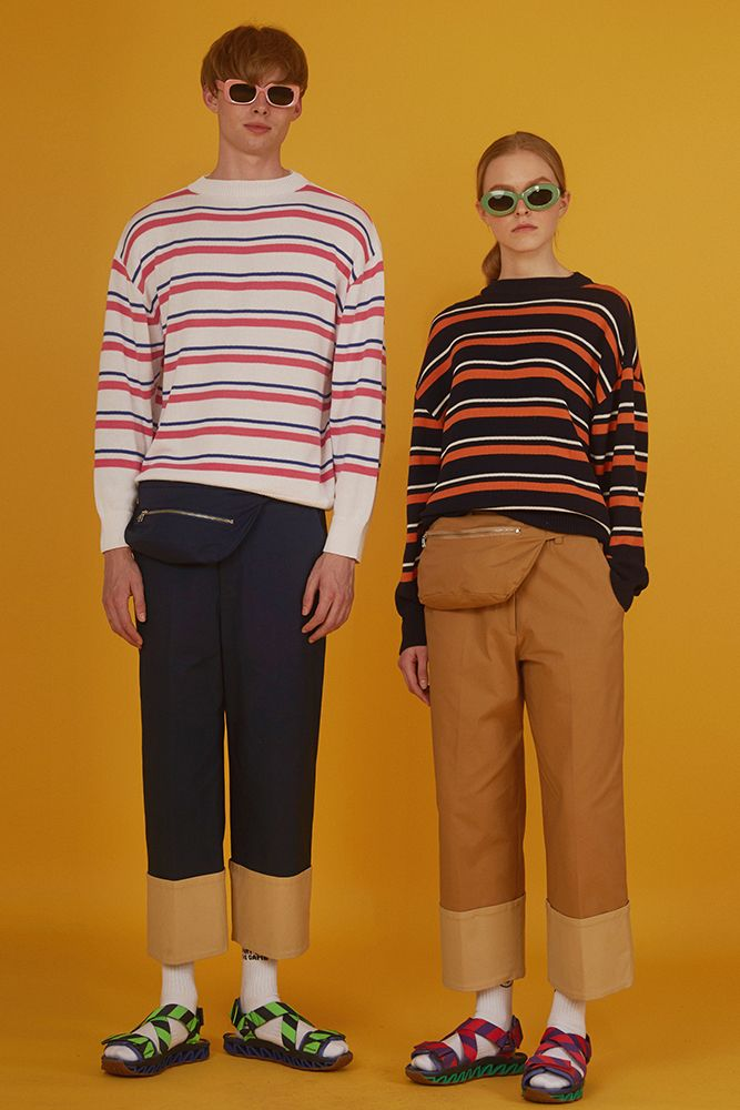 ADERerror Contemporary Minimalism Color Edit Twin look Stripe Knitwear