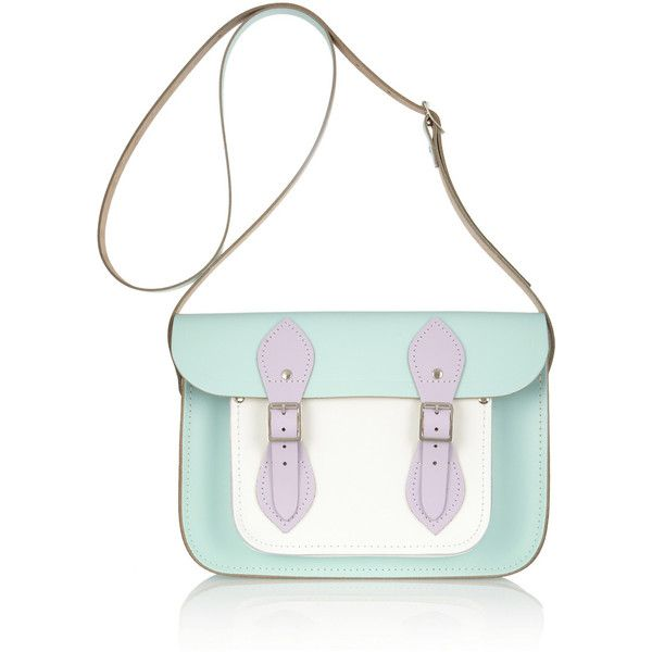 The Cambridge Satchel Company Color-block leather satchel ($135) ❤ liked on Polyvore featuring bags, handbags, borse, mint, pouch purse, mint green leather handbag, leather satchel, satchel purse and leather satchel purse