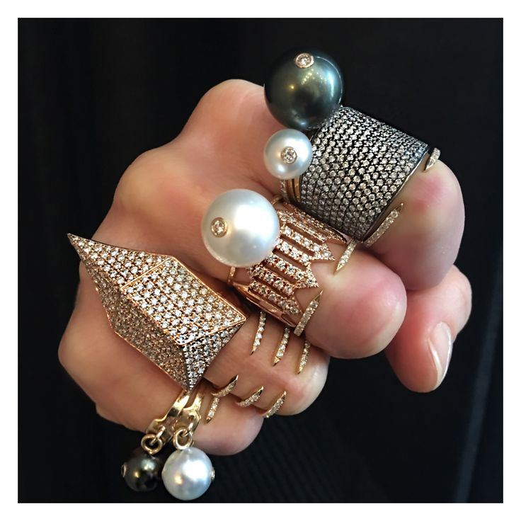 Today's Fine Jewelry Friday Fist featuring Jennifer Fisher Pearl and Pave Diamond rings. Shop online or call to make an appointment.