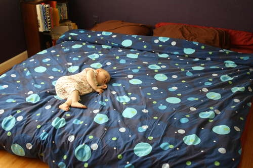 Cheap, DIY king size platform bed so the baby doesn't fall!