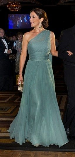Stunning dress worn by Crown Princess Mary of Denmark via @Louise Cote van Blitterswijk. #gowns #royalty