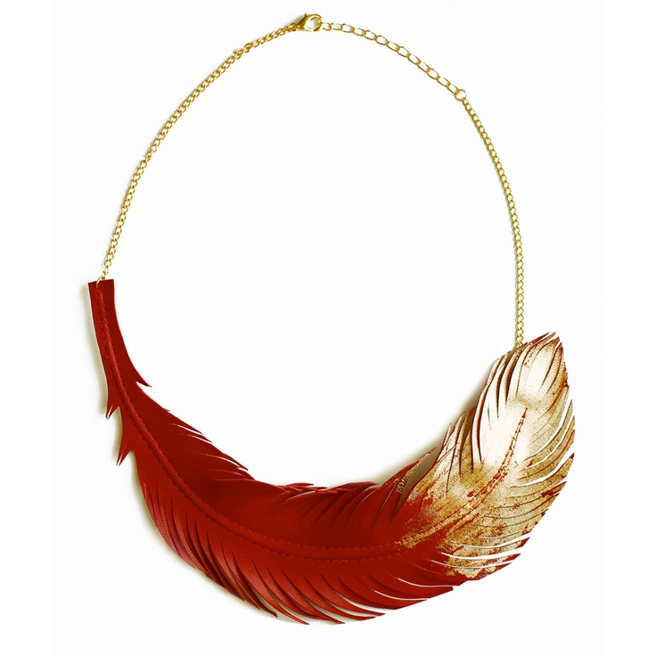 Leather Feather Necklace Red