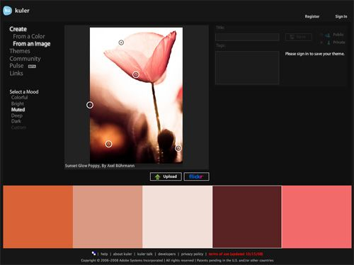 One of the better articles I've seen about how to come up with color schemes. I love that it defines, in a 5-way color scheme, which colors should be thought of as headlines, text, background, and accents. I totally forgot about Adobe Kuler, too; I should use that more often.