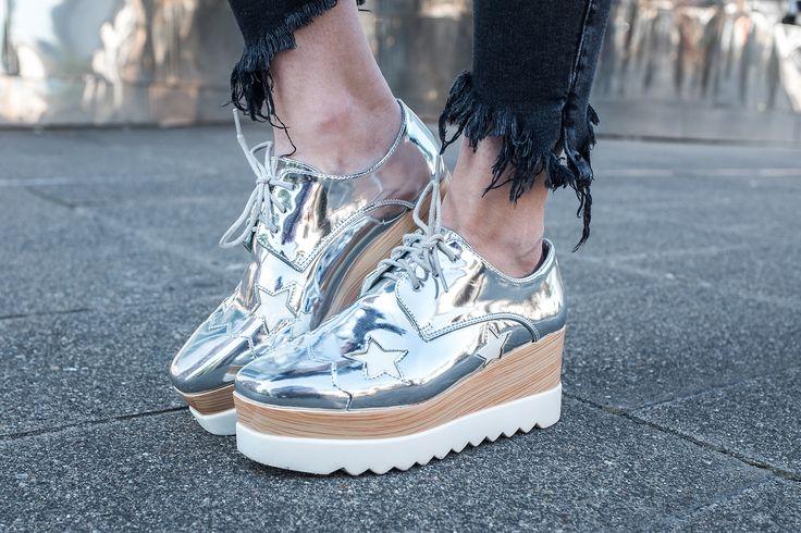 Plateau Damenschuhe Silber Sternchen Fashionblog Sunnyinga Düsseldorf