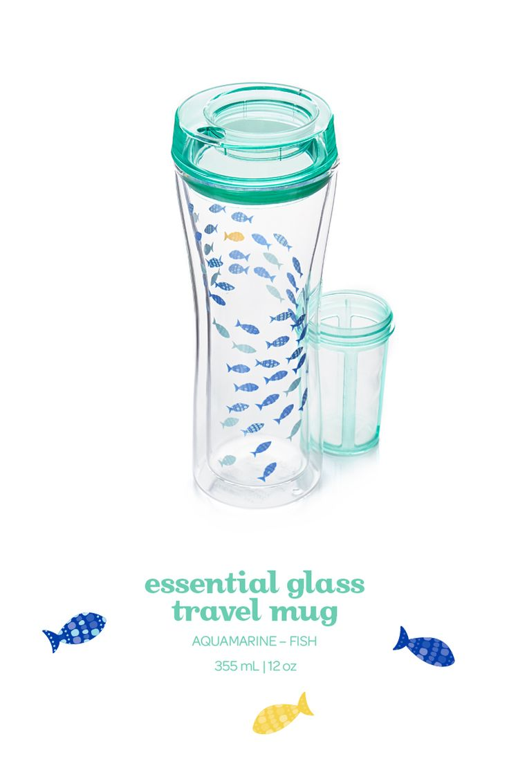 A double-walled glass travel mug with a fun school of fish design.