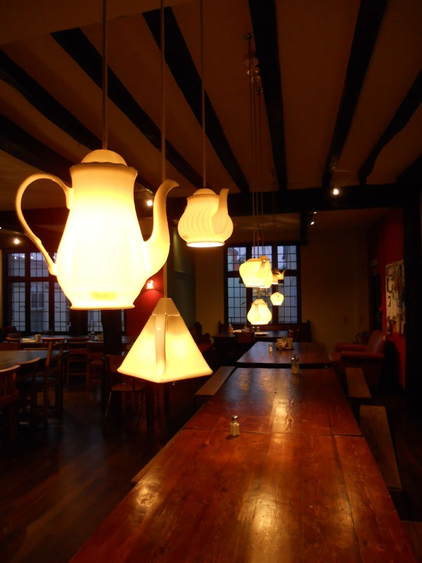 """""""Floating"""" teapots at the Boston Tea Party cafe in #Salisbury #UK #photography #cafe"""