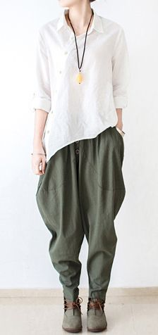 Tea green linen pants jodhpurs winter pants