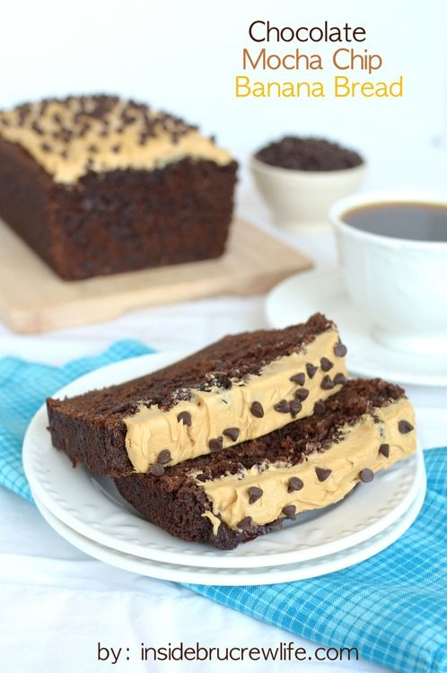 Chocolate Mocha Chip Banana Bread - this chocolate banana bread has a delicious mocha twist.  It will disappear in a day!