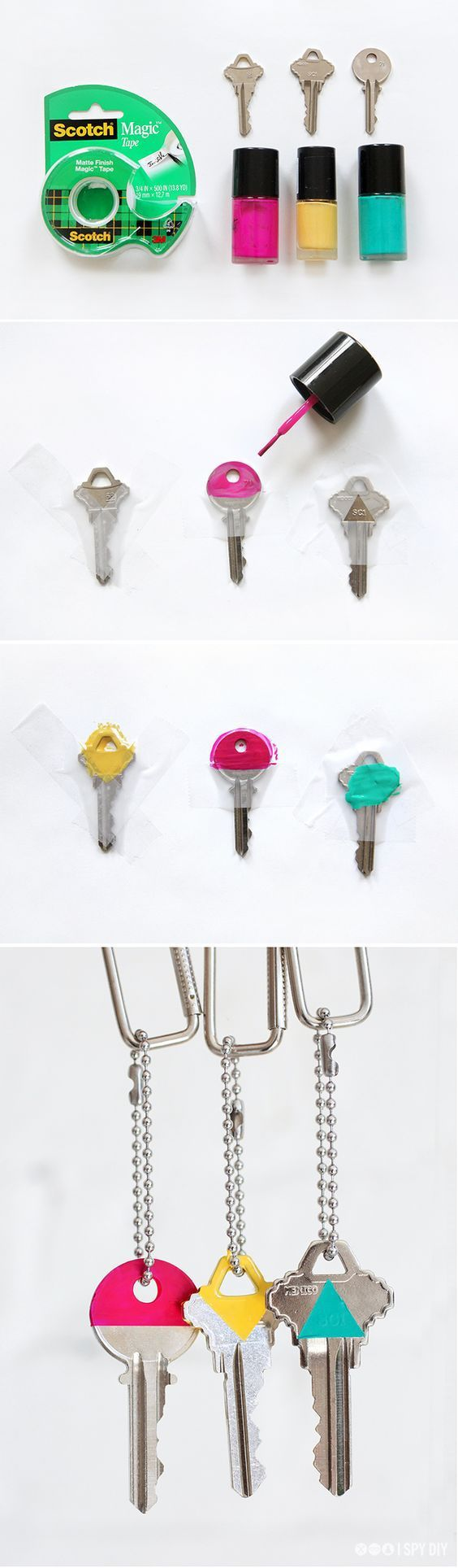 Differentiate your keys by painting the tops of your kets with different color nail polish so you know exactly which ones goes to what! Check out the 30 Life Hacks All College Students NEED to Know for more ideas!