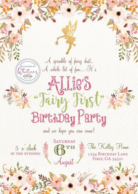 fairy first birthday invitation fairy