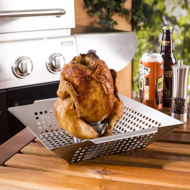 Make moist and delicious roasted chicken on our stainless steel Epicure BBQ Chicken Roaster. The large stainless steel roasting dish creates a stable base for holding your chicken upright and allows you to roast potatoes or veggies while your chicken cooks. The stainless steel cup is perfect to fill with beer, both or herbs and spices that will infuse the chicken with flavour and keep the meat moist.