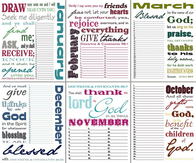 LDS Thankful Perpetual Calendar using verses of thanksgiving from the Bible, Book of Mormon, and Doctrine & Covenants