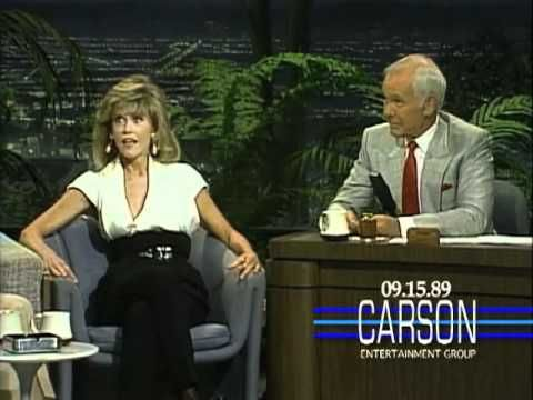 """Jane Fonda Asks About Zsa Zsa Gabor's Cat on """"The Tonight Show"""" - Johnny Carson - 1989"""
