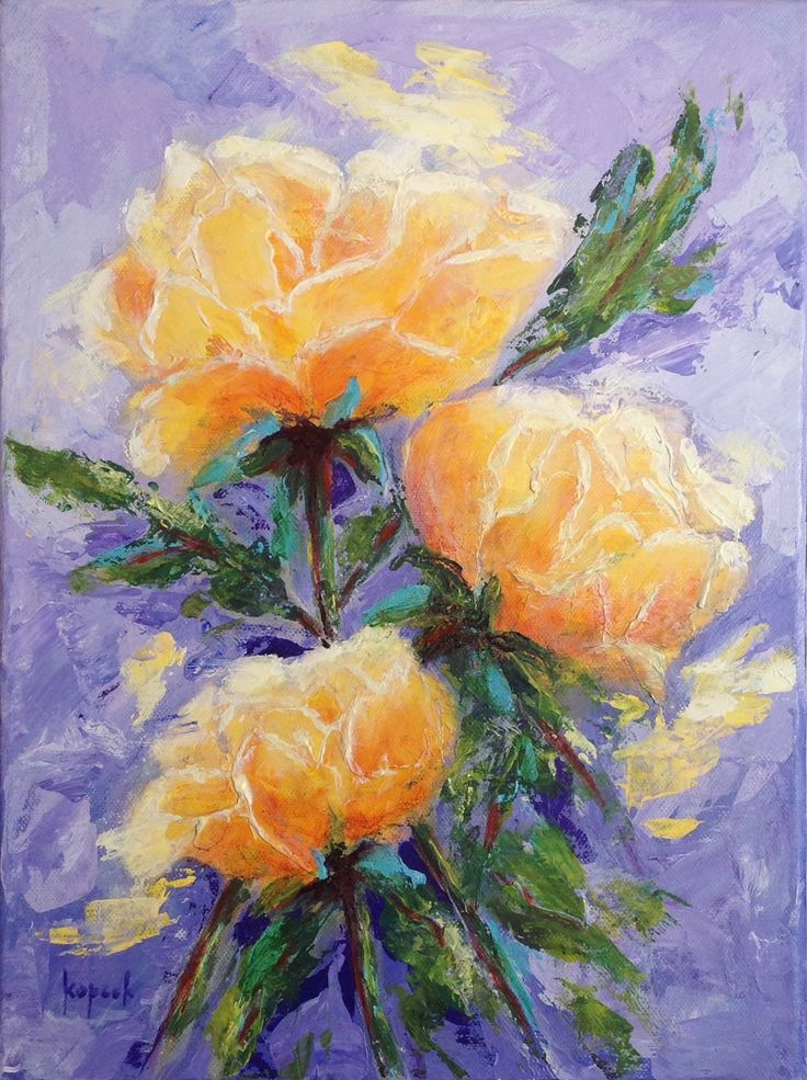 Yellow Roses, 12x16, Acrylic on gallery wrap canvas, #floral #botanical # stillife #roses