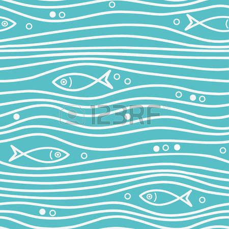 Seamless blue simple pattern with simple fishes and waves. Vector simple marine background.