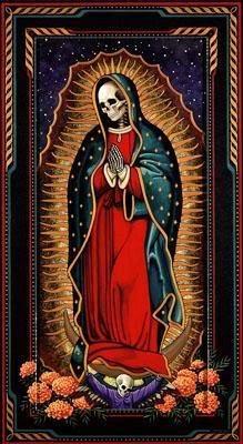 Virgin Mary Calavera. Connection of Dia de Los Muertos & The Virgin Mary.  Mexican Culture, Artwork & Design.