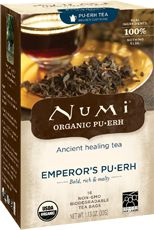 Numi Organic Tea Emperor's Pu·erh | Pu∙erh boasts a deep bold body that is smooth and earthy with hints of malt. This rich, energizing tea is deeply satisfying as a coffee alternative. Numi is proud to reveal the centuries old tradition of Pu∙erh.