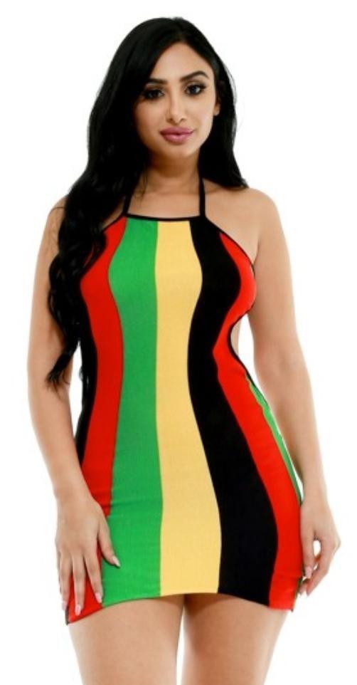 3c2be8ddf1199 Sexy striped rasta colored (red, yellow, black, green) open back dress.  Regular sizing, mini. #Jamaica #Reggae #Rasta