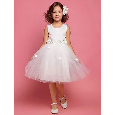 Flower Girl Dress Knee-length Satin/Lace/Organza A-line/Princess/Ball Gown Sleeveless Dress – AUD $ 34.24