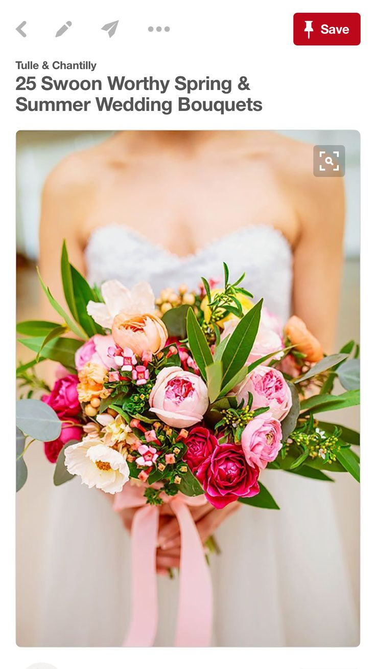 25 swoon worthy spring amp summer wedding bouquets tulle amp chantilly - Wedding Inspiration A Spring Bouquet Of Pink And Peachy Blooms