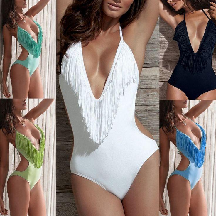 THE GREEN ONE!  2014 One Piece Sexy Lady Plunge Halter Deep V- Fringe Tassels Monokini Swimwear #Egomega #OnePiece