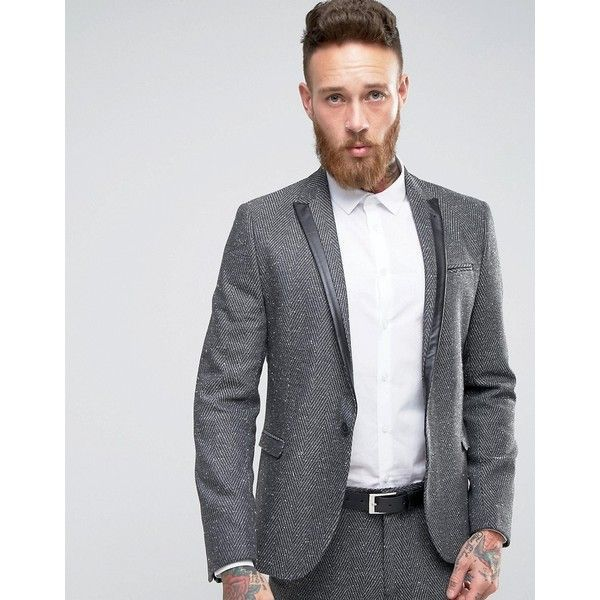 ASOS Skinny Suit Jacket in Grey Fleck Herringbone ($55) ❤ liked on Polyvore featuring men's fashion, men's clothing, men's outerwear, men's jackets, grey, mens gray leather jacket, mens herringbone jacket, mens grey jacket and asos mens jackets